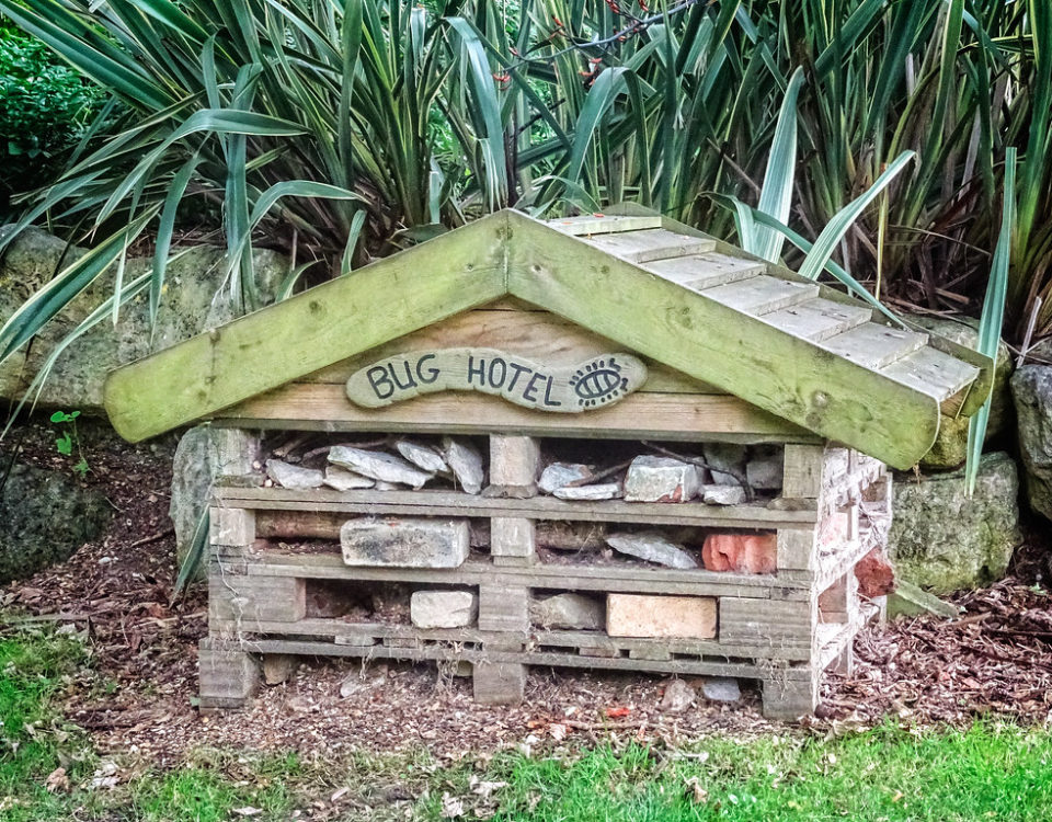 "A large, wooden bug hotel with a ""bug hotel"" sign on top"